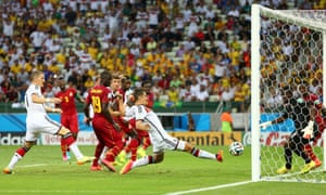 Miroslav Klose outstretched leg equalises for Germany.