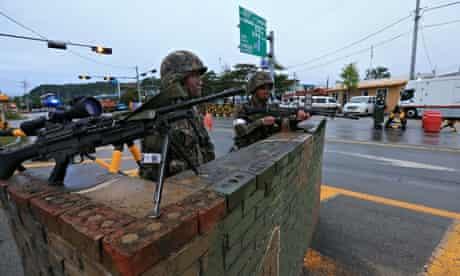 South Korean soldiers man a checkpoint near the DMZ