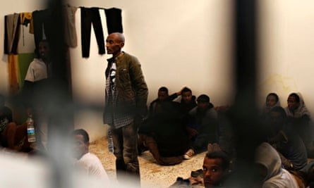 Migrants at a detention centre in Zawiya, Libya