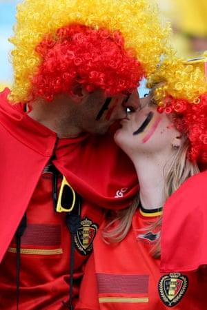 Supporters of Belgium prior to the FIFA World Cup 2014 group H preliminary round match between Belgium and Russia