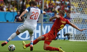 Russia's midfielder Viktor Fayzulin (L) and Belgium's defender Toby Alderweireld vie for the ball during a Group H football match between Belgium and Russia at the Maracana Stadium in Rio de Janeiro during the 2014 FIFA World Cup on June 22, 2014.  AFP PHOTO / CHRISTOPHE SIMONCHRISTOPHE SIMON/AFP/Getty Images