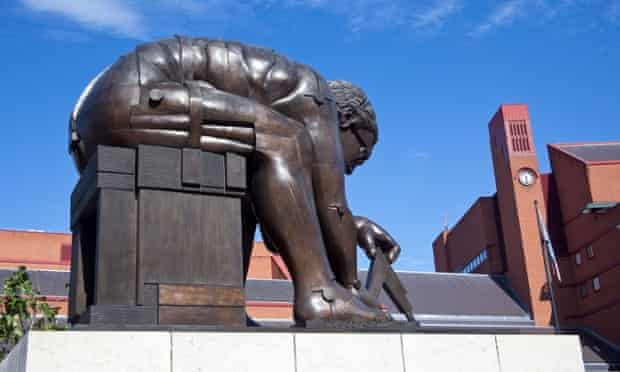 Statue of Isaac Newton at the British Library in London.