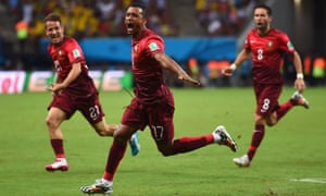 Nani celebrates his goal.