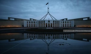 Parliament House through the gloom as the Abbott government's key budget bills remain in limbo.