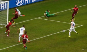 Michael Bradley has a shot cleared off the goalline.