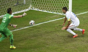 Clint Dempsey scores USA's second goal.
