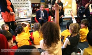 Bill Shorten answers questions from the children at Forrest primary school, Canberra.
