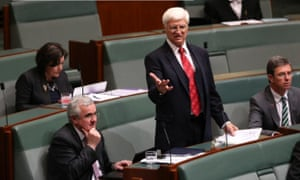 Bob Katter calling for attention in the chamber.
