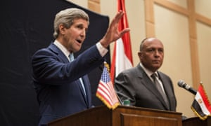 U.S. Secretary of State John Kerry, speaks during a press conference in Cairo.