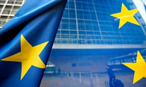 European Union flag flies in front of the European commission in Brusselsns