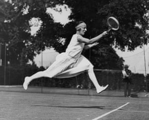 French tennis player Suzanne Lenglen competing at Wimbledon, 1926