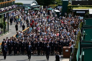 wimbo day 1: Security walk the crowds in past Centre Court