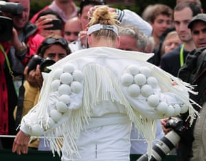 Bethanie Mattek-Sands of the US arrives on court, 2011
