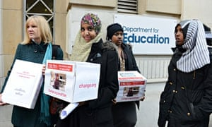 Anti-fgm campaigners outside the department for education before a meeting with Michael Gove