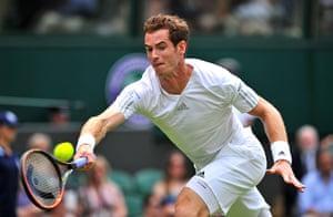 wimbledon day one: Britain's Andy Murray returns