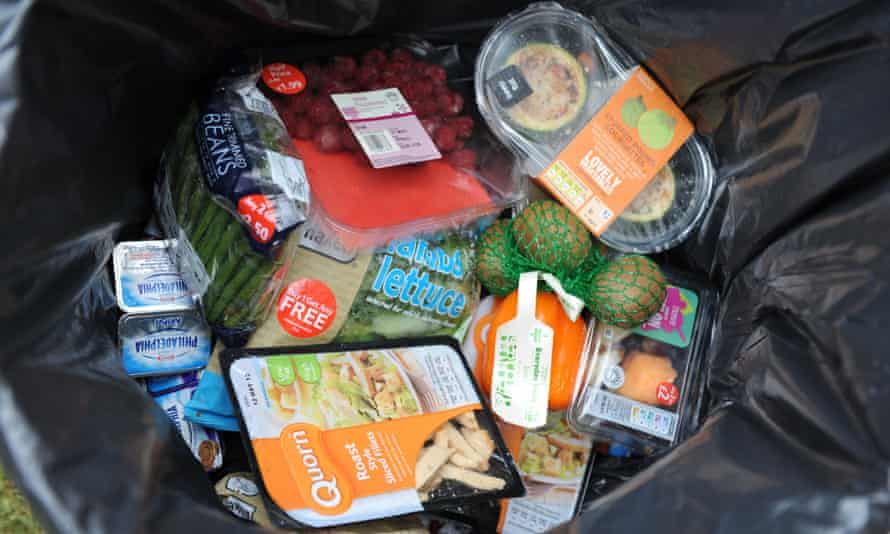 Unopened food from a domestic household thrown away in a dustbin.
