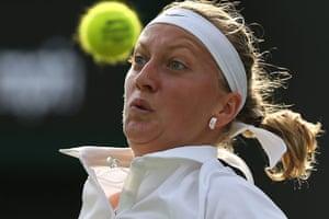 wimbledon first day: Czech Republic's Petra Kvitova eyes the ball