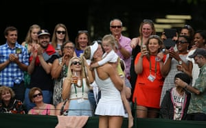 wimbledon first day: Naomi Broady holds her 4 year old niece Lola