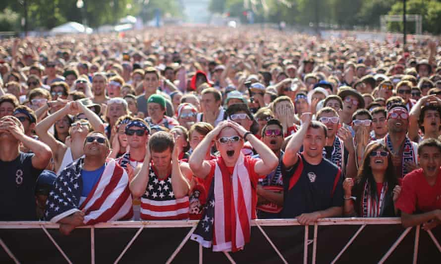 USA fans watch Portugal
