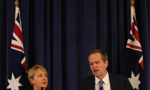 Bill Shorten with disability shadow Jenny Macklin in the Opposition Party room.