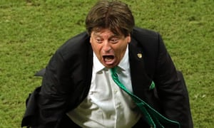 Mexico coach Miguel Herrera celebrates during the World Cup win over Croatia.
