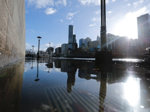 The Yarra River floods its banks in Melbourne today