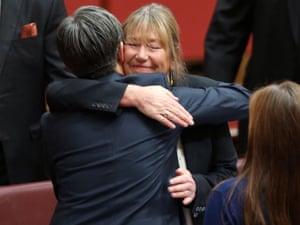 Labor Leader Penny Wong bids farewell to Tasmanian senator Lin Thorp