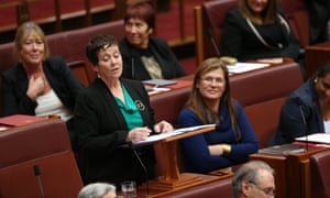 Senator Ursula Stephens sings a farewell to her colleagues after she delivered her valedictory this afternoon.
