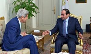 Abdel Fatah al-Sisi with John Kerry in Cairo.