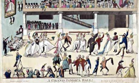 British colonists served by African slaves at a ball in Spanish Town, Jamaica