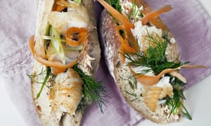 Pollock and salmon baguette open-faced sandwich