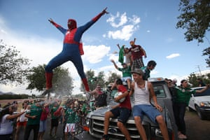 We're through: A Mexican soccer fan celebrates
