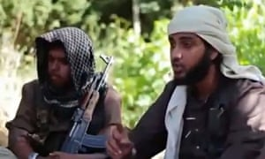 Islamist fighters, claiming to be British, in a recruitment video for terrorist group Isis