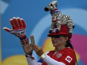 A Costa Rica fan is pictured before the start of a Group D match between Costa Rica and England in Belo Horizonte.