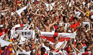 England fans in good voice - before the game.