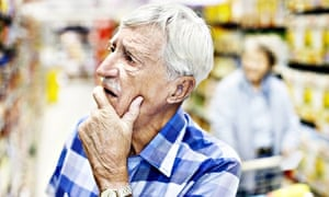 Man with dementia shopping