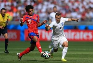 Wilshere stays on his feet and drives forward