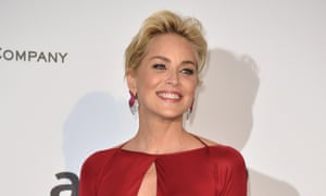 Sharon Stone wears a red Roberto Cavalli dress.