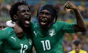 Wilfried Bony (left) of Ivory Coast celebrates with team-mate Gervinho after equalising.