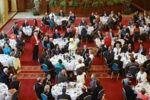 Queen Elizabeth II speaks at a lunch in her honour celebrating the 'Best of Belfast' in Belfast, Northern Ireland.