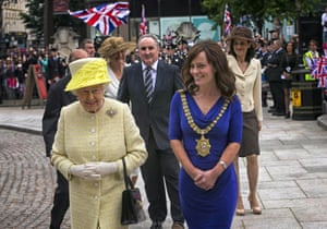 Belfast Lord Mayor Nichola Mallon welcomes Queen Elizabeth II and Prince Philip, Duke of Edinburgh at City Hall for a lunch in honour of The Queen and Duke of Edinburgh celebrating the 'Best of Belfast' in Belfast, Northern Ireland.