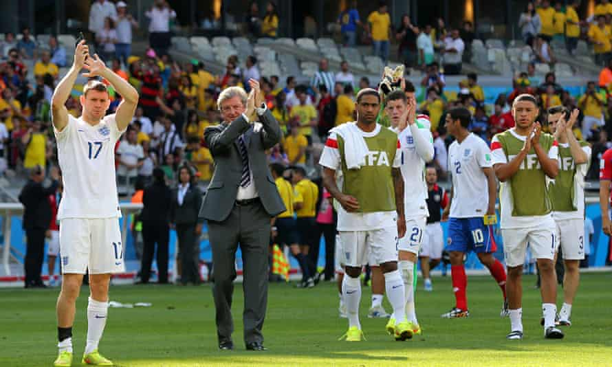 Roy Hodgson and members of the England squad applaud the fans in Belo Horizonte, Brazil
