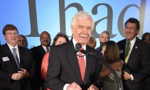 Senator Thad Cochran addresses supporters after winning the Republican primary in Mississippi.