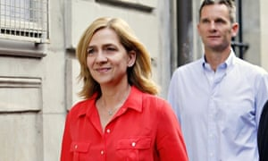 Princess Cristina in a red shirt and forced smile with Iñaki Urdangarin following her, in Geneva
