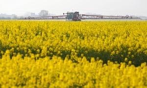 A farmer uses a crop sprayer in a field of rapeseed crops in Basildon, U.K., on April 2, 2014.