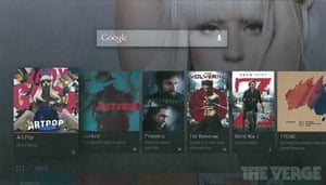 How Android TV's user interface may look.