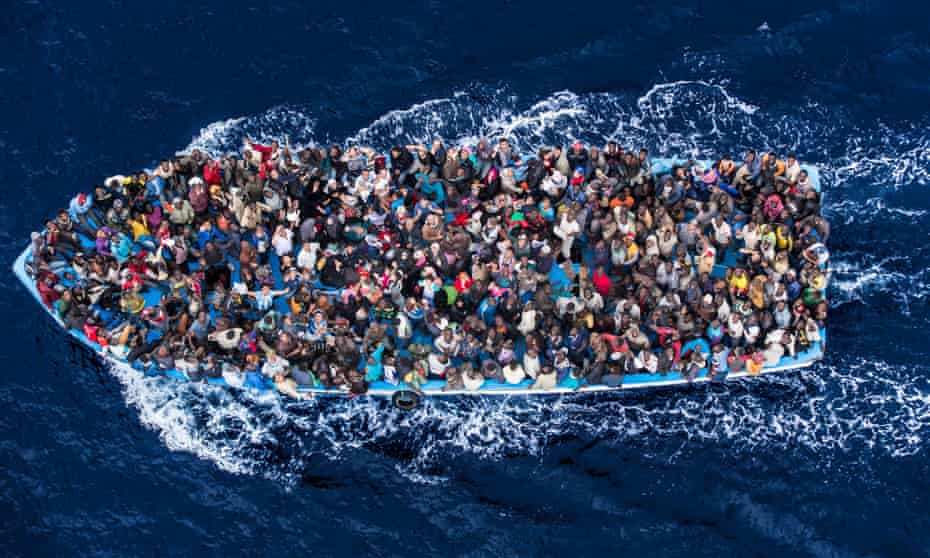 African asylum seekers packed into a boat.