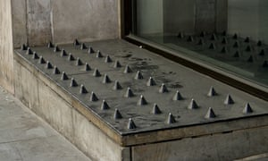 The controversial anti-homeless spikes outside Tesco on Regent Street, now removed.