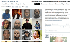 Image of the Homicide Watch website