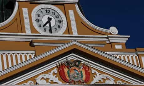 Clock on legislative palace in La Paz, Bolivia